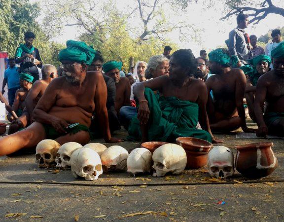 Tamil Nadu Farmers protesting at Jantar Mantar.  Photo: ANN/Nirmesh Singh