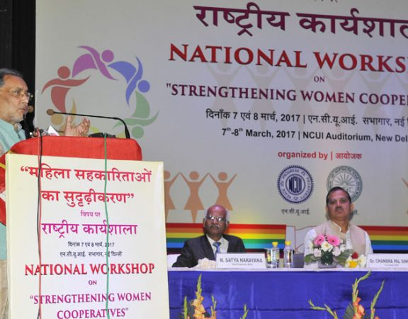 "The Union Minister for Agriculture and Farmers Welfare, Shri Radha Mohan Singh addressing at the concluding ceremony of the ""National Workshop on Strengthening Women Cooperatives"", in New Delhi on March 08, 2017."