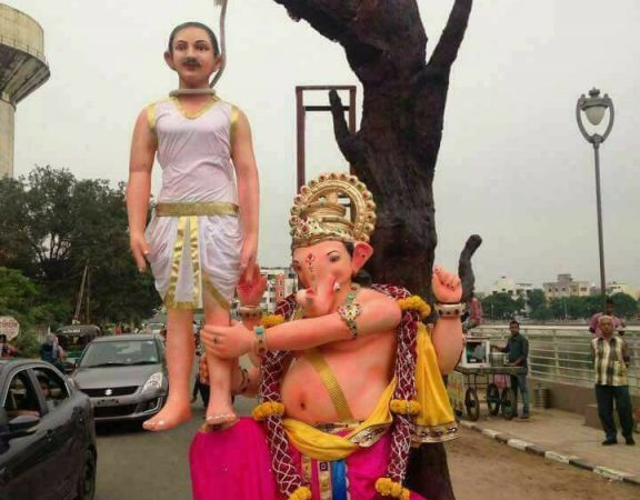 An idol of Lord Ganesh saving farmer.  ( With due credit to anonymous photographer)